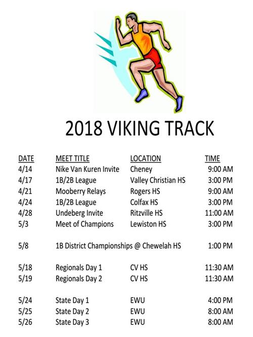 2018 Viking Track schedule